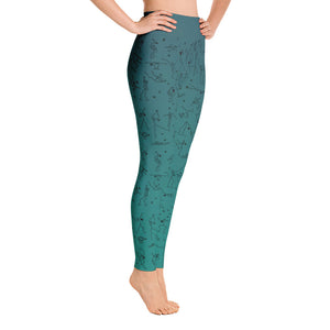 "Leggings - ""Debbie's Dancers"" Original Art - Blue-Green Ombre"