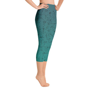 "Capri Leggings - ""Debbie's Dancers"" Original Art - Blue-Green Ombre"