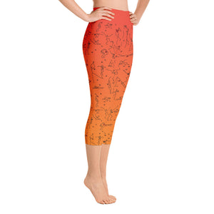 "Capri Leggings - ""Debbie's Dancers"" Original Art - Orange Ombre"