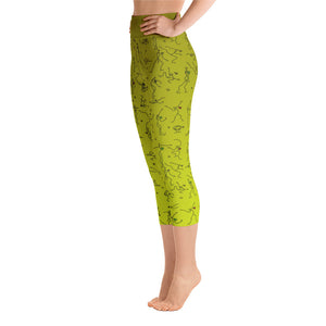 "Capri Leggings - ""Debbie's Dancers"" Original Art - Yellow Ombre"