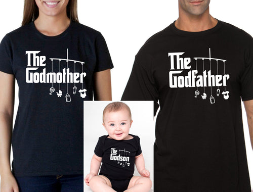 godmother or godfather shirt & godson bodysuit (romper) or t-shirt – matching shirts (Note@chkout: size/design) - mix-N-match!