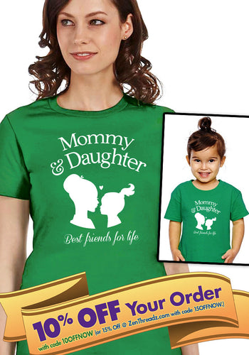 mommy & daughter best friends for life kiss shirt (unisex) and onesie matching set  |  mother's day or birthday gift (note sizes @ chkout)