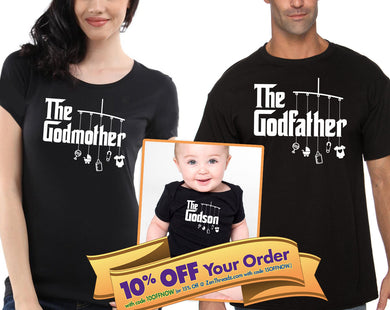 godmother or godfather shirt & godson/goddaughter matching bodysuit (romper)   |  baptism gift (note sizes @ chkout) - mix-N-match!