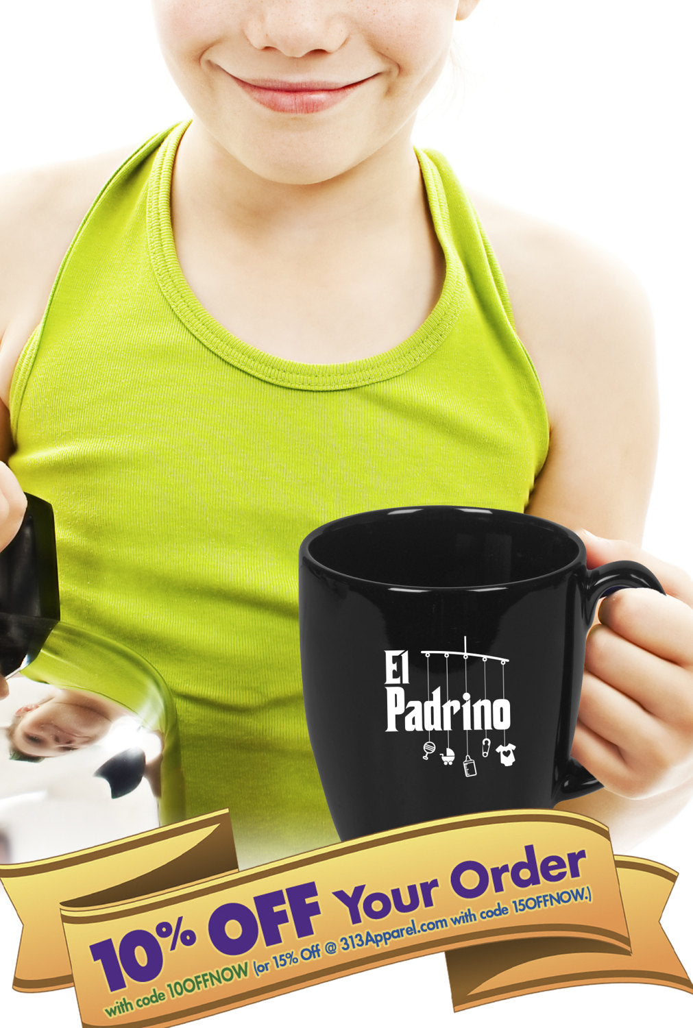 padrino (godfather) coffee mug   |   taza de café padrino   |   double-sided logo   |   14 ounce   |   micro & diswasher safe