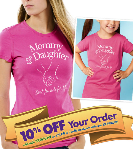 mommy & daughter holding hands unisex shirt and onesie set  |  best friends for life  |  mothers day or birthday gift (note size @ chkout)