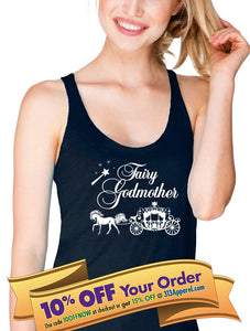 fairy godmother tank top with horsedrawn carriage and wand  |  baptism shirt  |  godmother shirt
