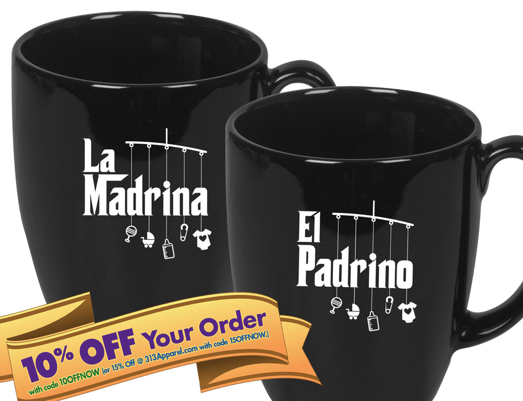 padrino and madrina coffee mugs   |   double-sided logo   |   14 ounce   |   micro & diswasher safe