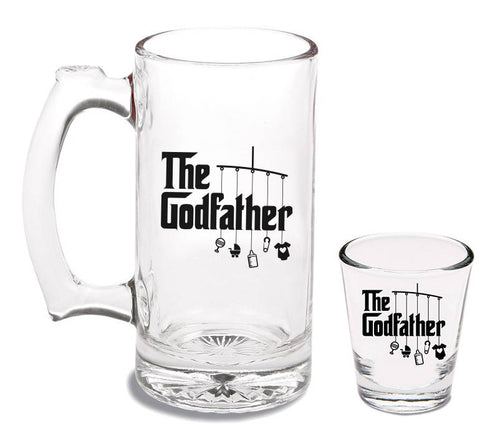 12 oz godfather beer mug and 1.5 oz godfather shot glass   |   diswasher safe  |  baptism gift