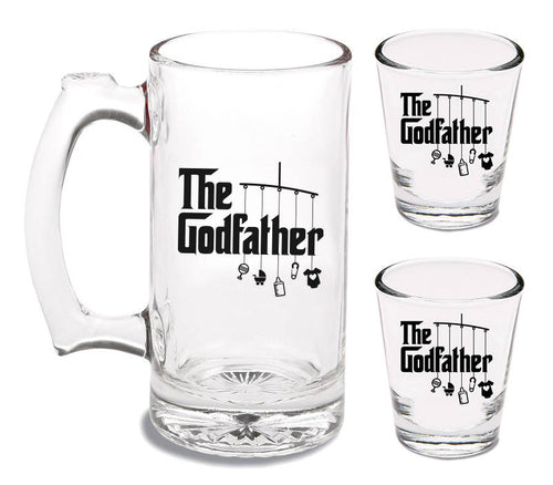 12 oz godfather beer mug and two 1.5 oz godfather shot glasses   |   dishwasher safe  |  baptism gift