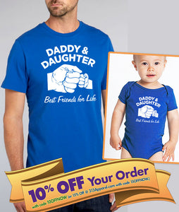 daddy daughter (unisex) shirt or bodysuit (romper) set  |  best friends for life fist bump shirt  |  father's day gift (note size @ chkout)