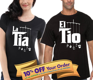 la tia and el tio (the aunt & uncle) shirt matching set (unisex)  |  gift for aunt and uncle (please note sizes @ checkout)