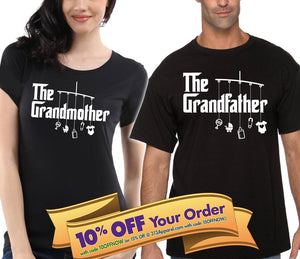 the grandfather & the grandmother shirt matching set (unisex)  |  gift for grandma and grandpa (please note sizes @ checkout)