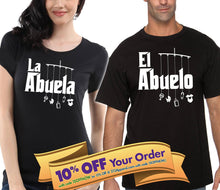 el abuelo and la abuela godfather godmother shirt matching set (unisex)  |  gift for grandma and grandpa (please note sizes @ checkout)