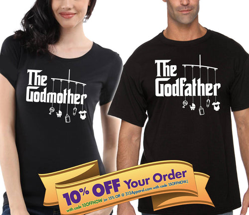 the godmother and the godfather unisex shirt set   |  gift for godfather and godmother (please note sizes @ checkout)