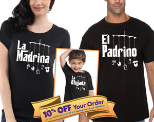 la madrina shirt, el padrino shirt, la ahijada and el ahijado bodysuit (romper) or toddler t-shirt (Note@chkout: size/design) - Mix-N-Match!