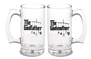 godfather AND godmother glass beer mugs (you get 2 mugs)   |   12 ounce   |   diswasher safe  |  double-sided logo