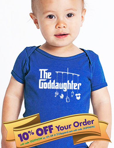 goddaughter bodysuit (romper) or toddler shirt (mobile with toys style)  |  baptism shirt  |  godparent gift