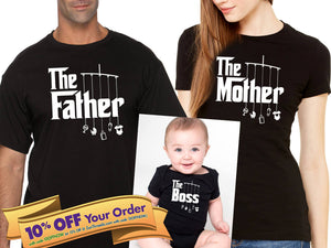 the father, the mother & the boss unisex shirt and bodysuit (romper) set   |   gift for parents (note sizes @ checkout) - mix-N-match!