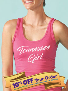 tennessee girl women's racerback tank top (next level apparel)  |  tennessee gift