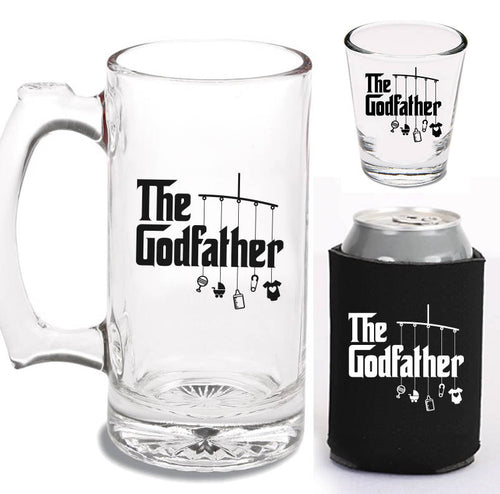 12 oz godfather beer mug, 1.5 oz godfather shot glass & can cooler   |   diswasher safe mug and shot glass   |   baptism gift
