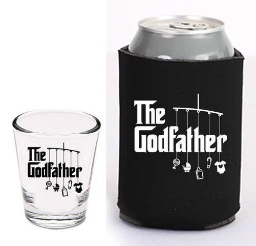 1.5 oz godfather shot glass and can cooler   |   diswasher safe shot glass   |   baptism gift