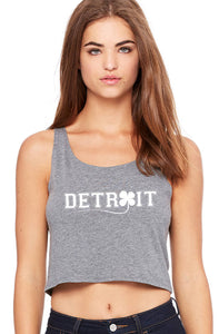 detroit st. patty's day shamrock ladies' poly-cotton crop tank