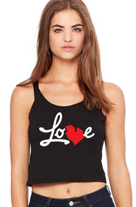 love michigan ladies' poly-cotton crop tank