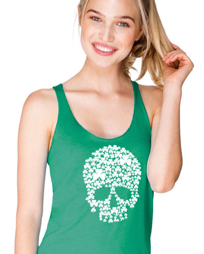 shamrock skull irish st patty's day women's tank top