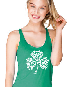 skull shamrock irish st patrick's day women's tank top