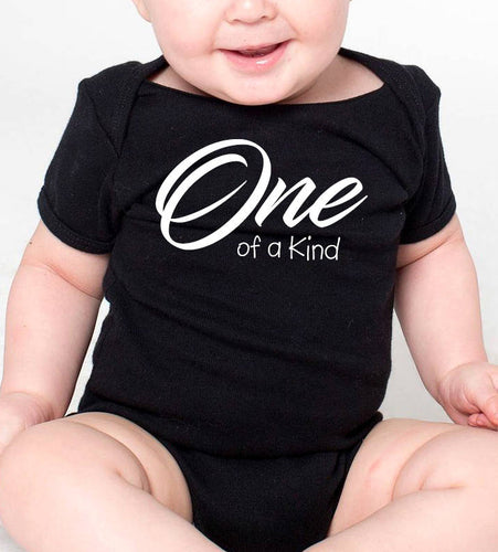 one of a kind onesie or toddler shirt in white text  |  1st birthday
