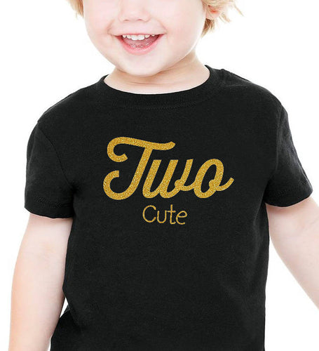 two cute onesie or toddler shirt in gold glitter  |  2nd birthday