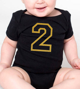 2 years old romper or toddler shirt in gold glitter  |  2nd birthday