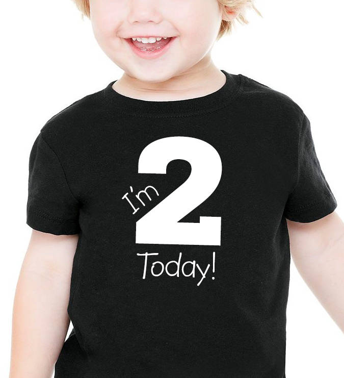 i'm 2 today onesie or toddler shirt in white text  |  2nd birthday