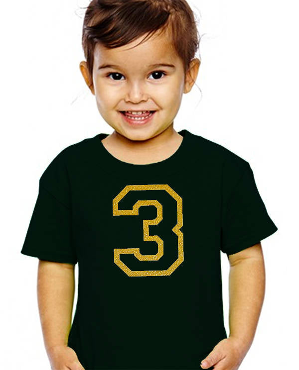 3 years old youth shirt in gold glitter  |  3rd birthday