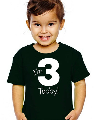 i'm 3 today youth shirt in white text  |  3rd birthday