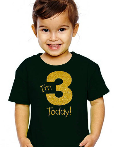 i'm 3 today youth shirt in gold glitter  |  3rd birthday