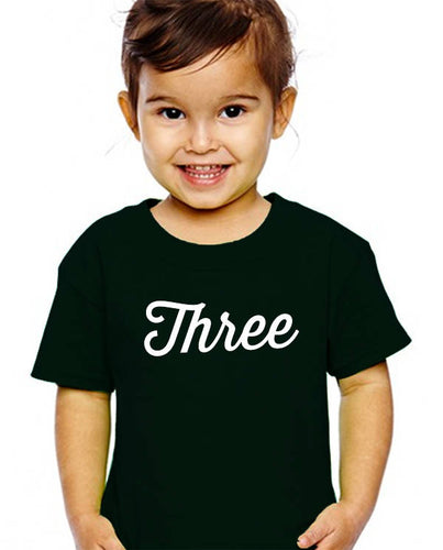 three year youth shirt in white text  |  3rd birthday
