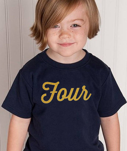 four youth shirt in gold glitter  |  4th birthday
