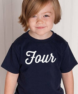 four youth shirt in white text  |  4th birthday