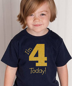 i'm 4 today youth shirt in gold glitter  |  4th birthday