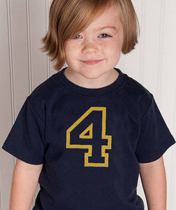 4 years youth shirt in gold glitter  |  4th birthday