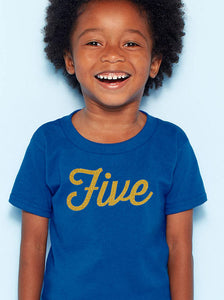 five years youth shirt in gold glitter  |  5th birthday