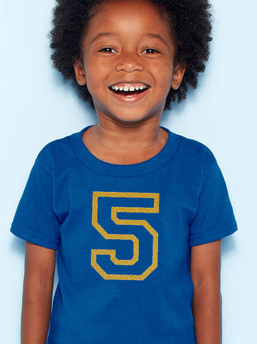5 years youth shirt in gold glitter  |  fifth birthday