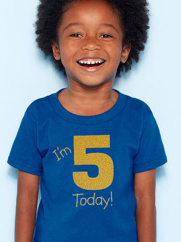i'm 5 today youth shirt in gold glitter  |  fifth birthday