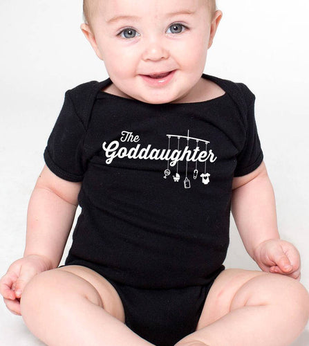 goddaughter onesie or toddler shirt (script font with mobile & toys)  |  baptism shirt  |  godparent gift