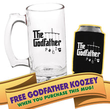 the godfather beer mug with FREE can cooler  |   double-sided logo   |   12 ounce   |   diswasher safe