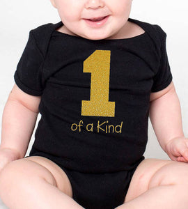 1 of a kind romper or toddler shirt in gold glitter  |  1st birthday