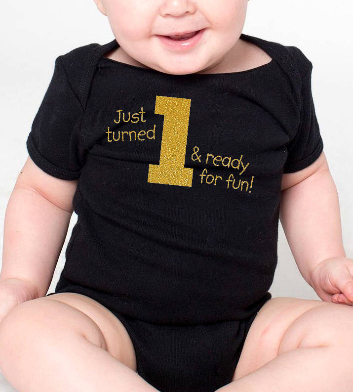 just turned 1 & ready for fun onesie or toddler shirt in gold glitter  |  1st birthday