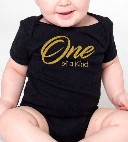 one of a kind onesie or toddler shirt in gold glitter  |  1st birthday