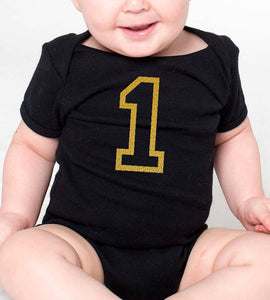 1 romper or toddler tee in gold glitter - first birthday  |  1st birthday onesie